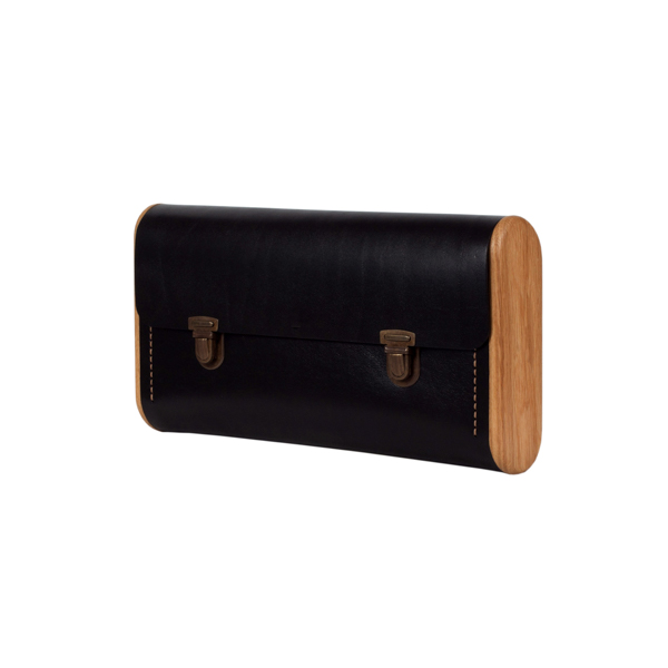 DUBLE REEL black onyx clutch